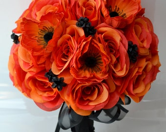 """17 Piece Package Wedding Bridal Bride Maid Of Honor Bridesmaid Bouquet Boutonniere Corsage Silk Flower BLACK ORANGE """"Lily of Angeles"""" ORBK01"""