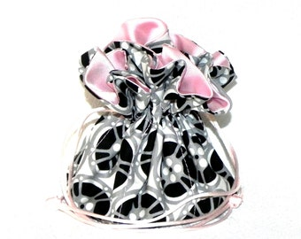 Drawstring Jewelry Pouch - Black, grey , white and pink  travel bag