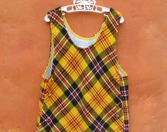 VINTAGE 1960s 1970s Girl's Mod Yellow Black Red Plaid Tunic Top Jumper Shirt. Size 7 8