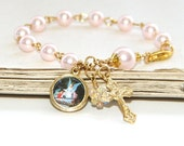 Girl's Pink Pearl Rosary Bracelet with Guardian Angel Medal & Crystal Butterfly, Perfect Godparent Gift