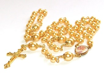 Baptism Rosary, Gorgeous Gold Swarovski® Crystal Pearls - Perfect for a Special Catholic Baby