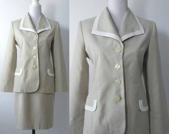 Vintage 80s Skirt Suit, Retro OLEG CASSINI Suit, Retro 80s Power Suit, 1980 Beige Skirt, Vintage Blazer, Vintage Jacket, Retro 80s Jacket