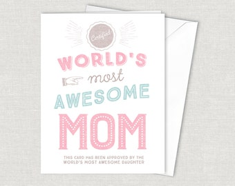Best Mom Card Funny Mothers Day Greeting Card Instant Download Printable Mothers Day Card Funny Card Worlds Most Awesome Mom