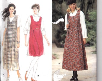 "Womens Sewing Pattern 1990's Jumber Knee or Ankle Length V or Scoop Neck Size 6-8-10 bust 30.5-31.5-32.5"" Simplicity 9755"
