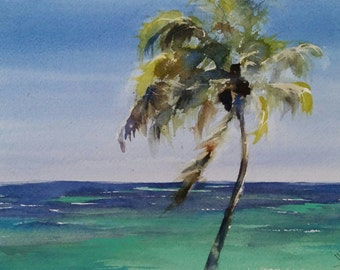 "palm tree, caribbean ocean, island, seascape, shore, tropical art, Caribbean Breezes. original watercolor painting (9"" x 12"")"