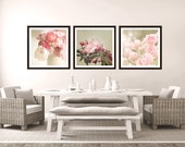Pink flower print set, pink home decor, country home decor, art print set, Rose Photography, pink and sage photo set, floral print set,