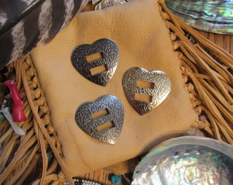 HEART Shaped Conchos - 24 pcs - Your Choice of Gold, Antique Brass or Gunmetal - Native American / Western Craft Supply