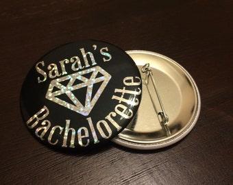 Custom Bachelorette Party Sparkle Pinback Button Badge