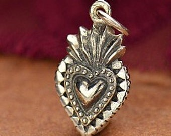 Heart - Sterling Silver Sacred Heart Charm - cj1076, Happiness, Medieval Symbol, Flaming Heart, Fierce, Faith, Catholic, Symbolic