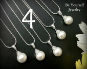 4 Bridesmaid Pearl Necklaces Wedding Jewelry Bridesmaid Gift Swarovski Crystal Pearl Necklace Bridal Jewelry Pearl Wedding Gift 15% Discount
