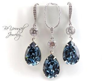 Blue Bridal Earrings Navy Teardrop Bride Necklace Swarovski Crystal Denim Blue Wedding Jewelry Something Blue Sapphire CZ Bridesmaid Gift