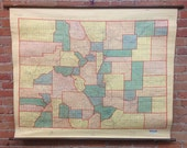 Topographic Map of State of Colorado - Vintage Wall Map
