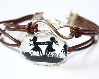 Eternity Infinity & Dancing Sisters Silhouette leather bracelet silvercolored - twin sister best friend mother daughter gift