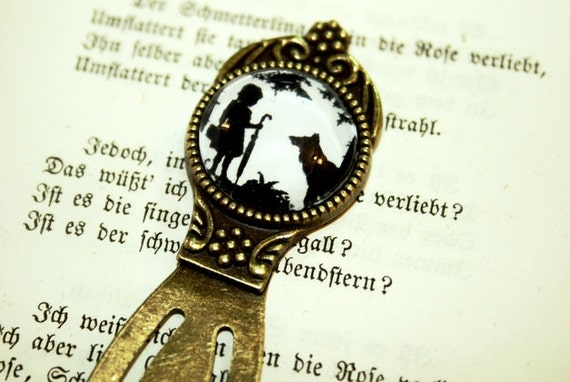 Little Red Riding Hood Silhouette Bookmark bronzecolored - Fairy Tale Wolf book bookworm black and white sister girl literatur mother gift