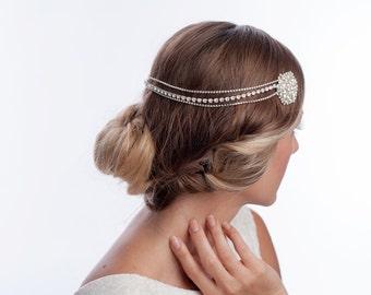 Bohemian wedding headpiece, rhinestone bridal headpiece, wedding headband , bridal headband - MAGNOLIA
