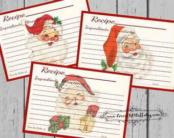 Christmas Recipe Card Set | 4x6 Printable Santa Recipe Cards 3x5 | 3.5x5 Blank Recipe Cards
