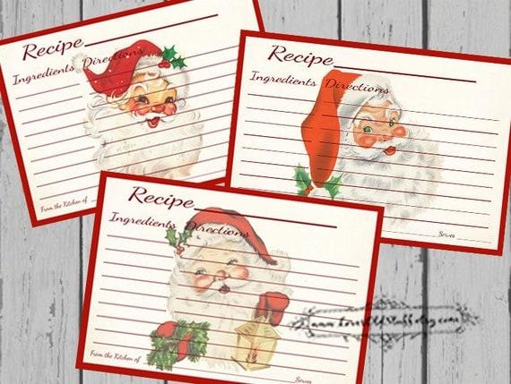 Christmas Recipe Card Set 4x6 Printable Santa Recipe Cards