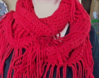 Hand Crocheted Infinity Scarf with Fringe