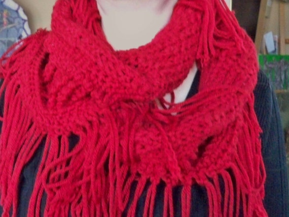 Crochet Infinity Scarf With Fringe Pattern : Hand Crocheted Infinity Scarf with Fringe