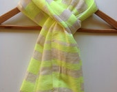 Scarf Yellow Neon & white Cotton wool hand-woven Men women Ethiopian Scarf- Yellow Neon wool Scarf- Winter scarf Accessories- skier scarf