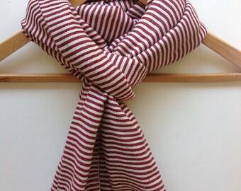 Burgundy & White Cotton Ticking Stripe Scarf- Ethiopian  Handwoven Cotton burgundy Stole- Men Women Unisex Scarves- Marsala