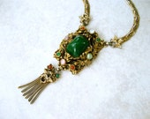 Vintage Dragon Lavalier Necklace Art Nouveau Style Green Glass Cabochon Chain Tassels Selro?