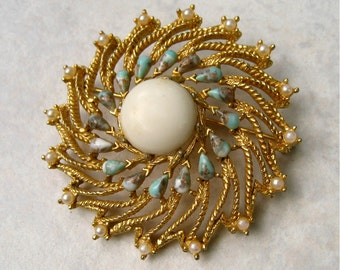 Vintage Sarah Coventry Brooch Venetian Turquoise  Faux Pearl Gold Tone Swirl