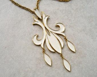 Vintage Trifari Pendant Necklace White Enamel Fleur de Lis Dangles