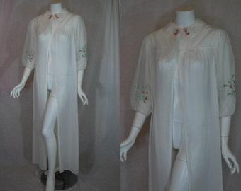 1950s Vanity Fair White Sheer Robe, 38, Large, Peignoir Dressing Gown