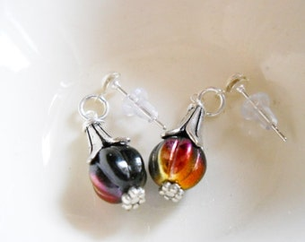 EaRRINGS Petite-Dangle on earring Posts, Czech Melon beads, antiqued silver plated bead caps