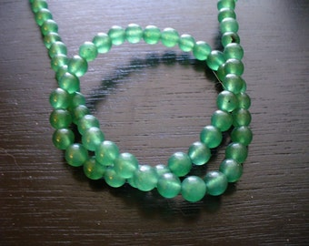 Jade Beads Gemstone Green Round 6mm