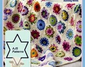 PDF Crochet Pattern - Floral Granny Square Floral Medallion Throw/Afghan Cover - Instant Download
