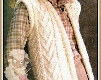 PDF Knitting Pattern for a Cabled Ladies Aran Waistcoat/Gilet - Instant Download