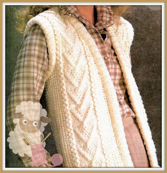 Knitting Pattern Gilet : PDF Knitting Pattern for a Cabled Ladies Aran Waistcoat/Gilet