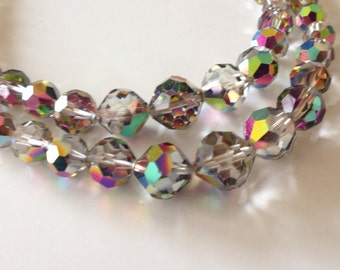 Gorgeous Signed Laguna Double Strand Carnival Aurora Borealis 1950's or 60's Bead Necklace