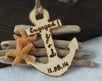 Personalized Nautical Engagement Ornament,  Gift For Newly Engaged, Christmas Gift