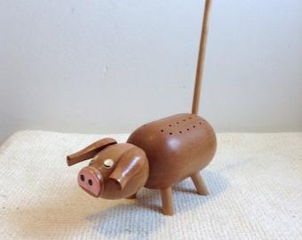 Vintage 1960 Wood Pig Toothpick holder. Mid century modern, Kitsch, Eames era. Wood Hors D'oeuvre holder.  Made in Japan.