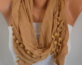 Mustard Pompom Scarf , Fall Fashion Scarf, Shawl, Cowl Scarf Gift Ideas For Her Women Fashion Accessories Women Scarves