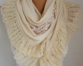 Cream Knitted Soft Scarf, Wedding Shawl, Cowl, Lace, Bridesmaid Gift,Bridal Accessories Gift Ideas For Her Women Fashion Accessories