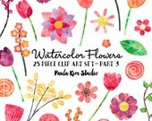 Watercolor Flower Clipart, Floral Clip Art, Digital Scrapbook Flowers, Commercial Use, Digital Download