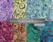 Floral Damask Pattern Watercolor Digital Paper, Damask Digital Paper Pack, Instant Download, Wedding Digital Paper