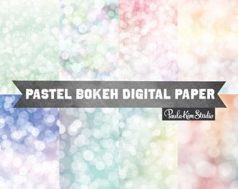 Pastel Bokeh Overlay Digital Paper Pack, Pastel Background Image Download, Commercial Use
