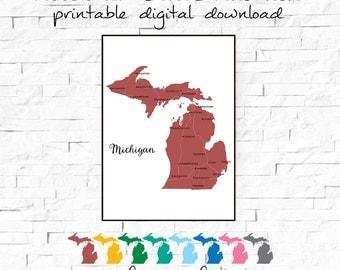 Printable Digital Download Michigan State Art Print, Michigan Map Art, Printable Wall Decor,  Housewarming Gift