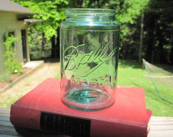 Antique 1900-1910 Ball Mason Canning Jar Pint Size Green Glass Triple L Dropped A