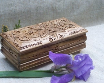 Jewelry box Wooden box Ring box Jewelry box wood Jewellery box Wedding jewelry box Wedding ring box Jewelry organizer Wood carving box B60