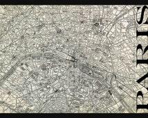 Vintage Paris Street Map Street Map Poster Print - Gray Grunge
