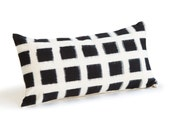 Handwoven Checked Double Ikat Lumbar Pillow in White