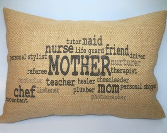 Mother Wordle natural  Burlap Accent Pillow Mom