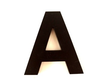 "Vintage Industrial Letter ""A"" 3D Sign Letter in Black Heavy Plastic (5"" tall) - Industrial Home Decor, Typography Letter, Altered Art"