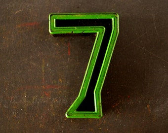 "Vintage Industrial Number ""7"" Black with Green and Red Paint, 2"" tall (c.1940s) - Monogram Display, Shadow Box Number, Art"